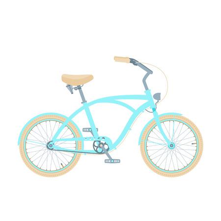 Blau Cruiser Fahrrad isoliert auf weiß.