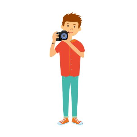 Photographer character web icon with camera.