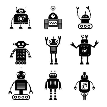 automaton: Retro robots isolated on white background. Illustration