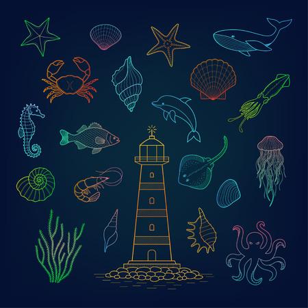 water chute: Sea set. Stingray, jellyfish, octopus, seaweed, fish, starfish, jellfish, squid, crab, sea horse, dolphin, lighthouse.