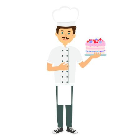 confectioner: Chef confectioner in uniform with cream cake.