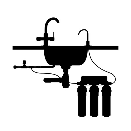 Water filter silhouette isolated on white background.