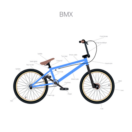 BMX bicycle infographic elements and parts.