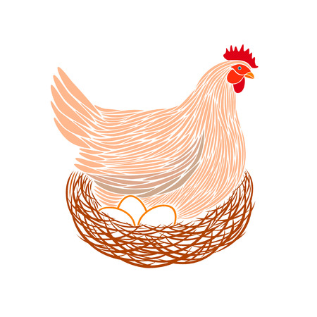 Colorful hen and eggs logo.