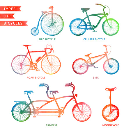 velocipede: Types of watercolor bicycle: road bicycle, BMX, tandem, monocycle, old bicycle, cruiser. Illustration