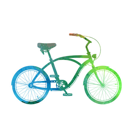 Watercolor cruiser bicycle isolated on white.
