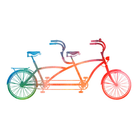 Retro styled tandem bicycle isolated on a white background.