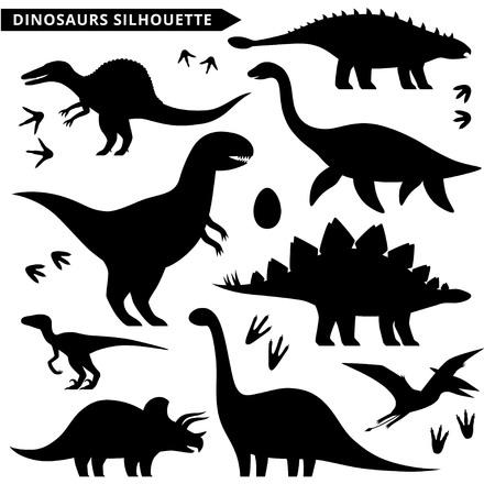 Dinosaurs silhouette set.