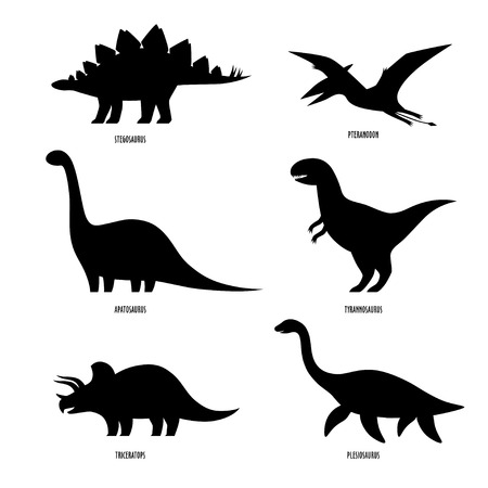 Dinosaurs silhouette. Illustration