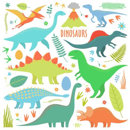 Dinosaurs set. Types of dinosaurs isolated on white.