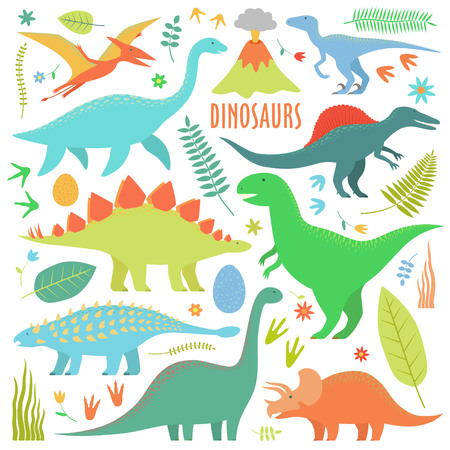 Dinosaurs set. Types of dinosaurs isolated on white.