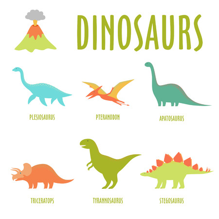 Dinosaur set isolated on white. Illustration