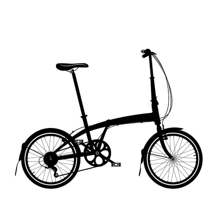 Folding bike silhouette isolated on white.