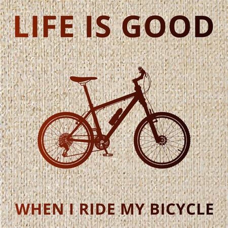自転車のシルエット、自転車に乗るとき、人生は良いです。