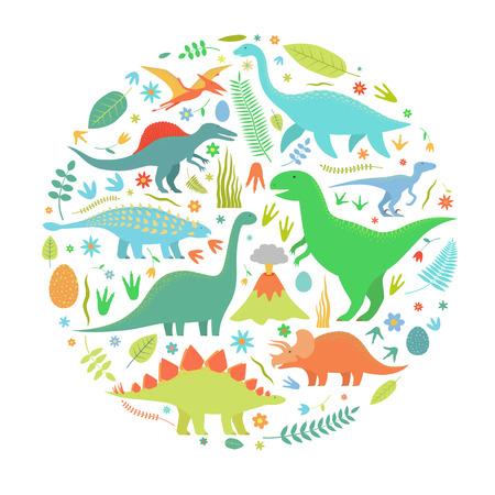 Dinosaurs set in circle. Illustration