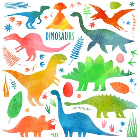 Watercolor dinosaurus set. Illustration