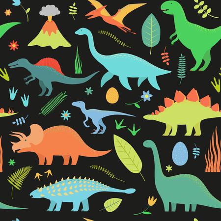 Dino seamless pattern on black background. Illustration