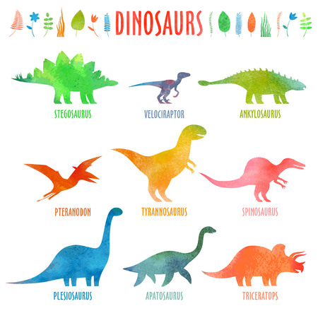 Dino set in watercolor. Dinosaurus isolated on white.