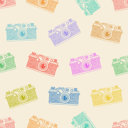 Old camera seamless pattern on light background. Иллюстрация