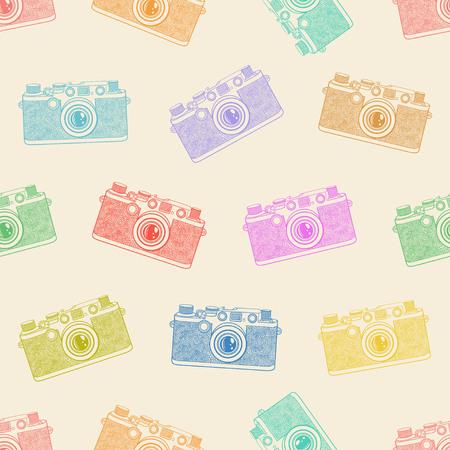 Old camera seamless pattern on light background. Illustration