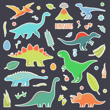 Dinosaurs set for stickers. Types of dinosaurs.