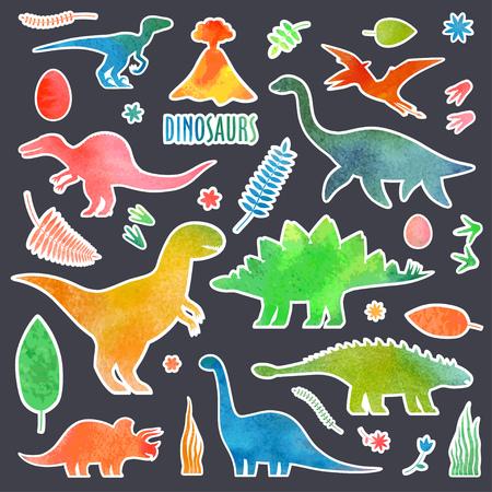 Dino watercolor stickers set. Dinosaurus stickers isolated. Illustration