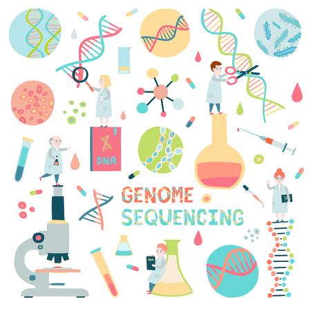 Conjunto de elementos de secuenciación del genoma. Pequeños científicos, microscopio, molécula de hélice de adn.