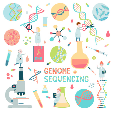 Set of genome sequensing elements. Small sientists, microscope, molecule helix of dna.