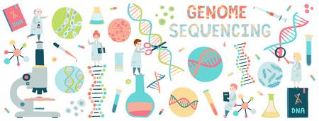 Concepto de fondo de pequeños científicos. Secuencia del genoma. Hélice de la molécula de adn, genoma o evolución genética. Ilustración de vector