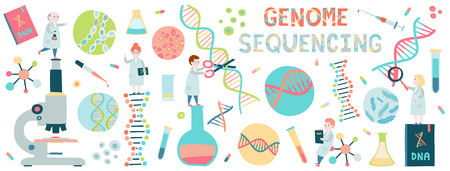 Background concept of small scientists. Genome sequensine. Molecule helix of dna, genome or gene evolution.