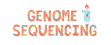 Genome sequencing inscription and scientist. Vector illustration.