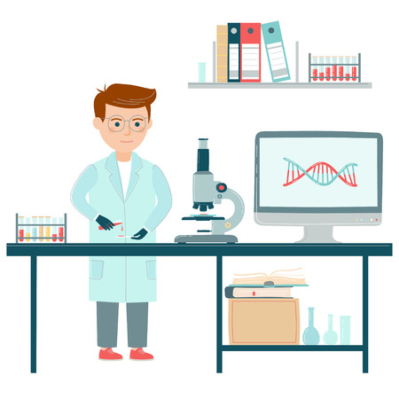 Genome sequencing project. Scientist and DNA structure. Vector illustration.