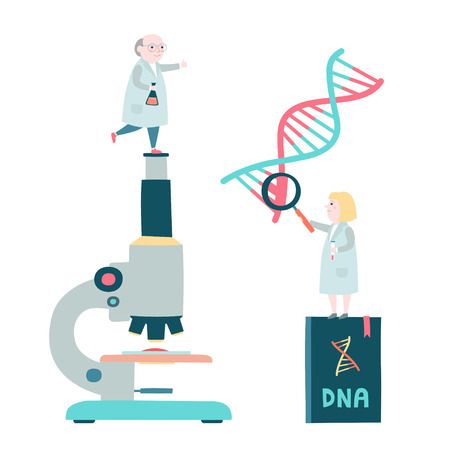 Little scientists concept. Microscop, DNA structure, genome sequencing. Vector illustration.