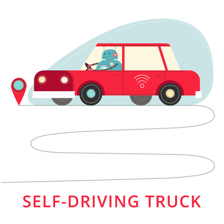 Self-driving car on the road. Stock Illustratie