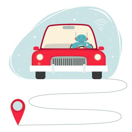 Self-driving car concept. Stock Illustratie