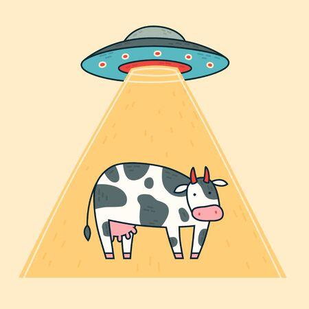 Spaceship, cow, abduction ufo. Vector illustration