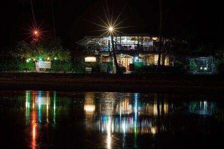 hostel in a night under stars in palawan, Port Barton, Philippines Stok Fotoğraf