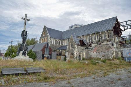 HISTORICAL CHURCH IN CHRISTCHURCH, NEW ZEALAND AFTER A EARTHQUAKE, NOVIEMBER, 2017 Stok Fotoğraf