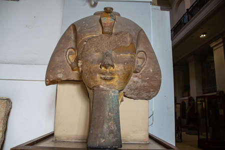 Architecture interior and sculpture from Egyptian Museum, Interior. El Cairo, Egypt 2018