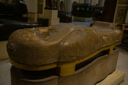 Architecture sarcophagus and sculpture from Egyptian Museum, Interior. El Cairo, Egypt 2018 Editorial