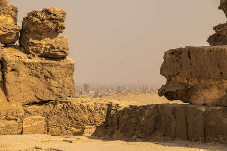 Panoramic view from Giza Desert, Architecture and historical place from Egypt, El Cairo 2018