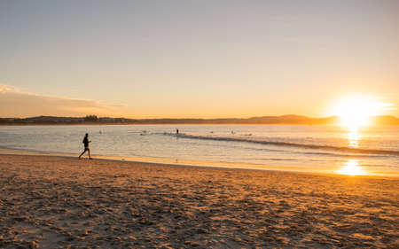Panoramic sunset on the beach, view from NSW, Australia, Sydney 2018 Stok Fotoğraf