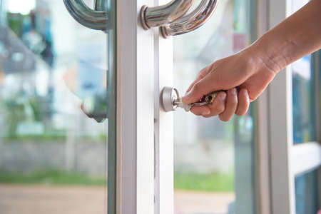 Opening the door with a keyOpening the door with a key