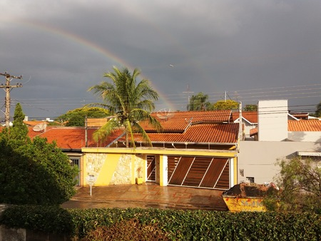 rainbow after a rain, seen from the bedroom window