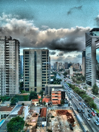 buildings of the city of sao paulo seen from the window of another building