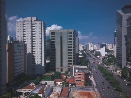 view of Sao Paulo city, with its tall buildings, giving chaos to beauty 스톡 콘텐츠