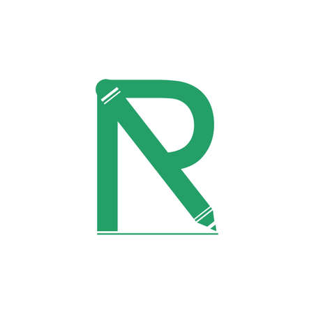 letter r pencil education logo vector