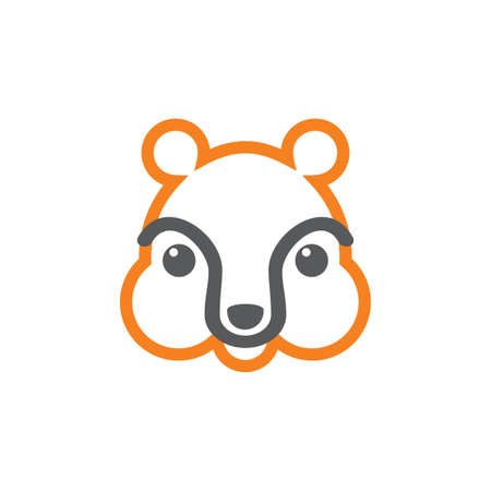 cute kid bear face line design symbol vector Çizim