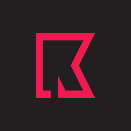 abstract letters rk geometric logo vector