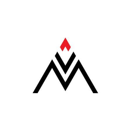 letter mv geometric line fire design logo vector